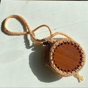 Circular Crochet Rattan Boho Shoulder Bag